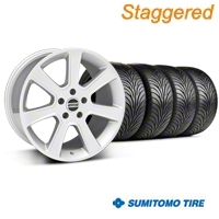 Staggered S197 Saleen Silver Wheel & Sumitomo Tire Kit - 18x9/10 (05-14 All) - American Muscle Wheels 28356||28359||63008||63009||KIT