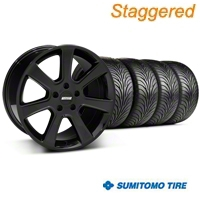 Staggered S197 Saleen Black Wheel & Sumitomo Tire Kit - 18x9/10 (05-14 All) - American Muscle Wheels 28357||28360||63008||63009||KIT