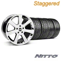 Staggered Chrome S197 Saleen Style Wheel & Nitto Tire Kit - 20x9/10 (05-14 All) - AmericanMuscle Wheels KIT||28361||28364||76005||76006