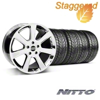 Staggered S197 Saleen Chrome Wheel & NITTO Tire Kit - 20x9/10 (05-14 All) - American Muscle Wheels 28361||28364||76005||76006||KIT