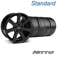 Black S197 Saleen Style Wheel & Nitto Tire Kit - 20x9 (05-14 All) - AmericanMuscle Wheels KIT||28363||76005