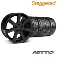 Staggered S197 Saleen Black Wheel & NITTO Tire Kit - 20x9/10 (05-14 All) - American Muscle Wheels 28363||28366||76005||76006||KIT