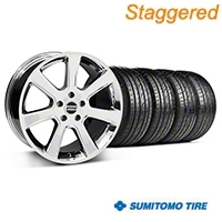 Staggered Chrome S197 Saleen Style Wheel & Sumitomo Tire Kit - 20x9/10 (05-14 All) - AmericanMuscle Wheels KIT||28361||28364||63024||63025