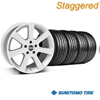 Staggered S197 Saleen Style Silver Wheel & Sumitomo Tire Kit - 20x9/10 (05-14 All) - American Muscle Wheels 28362||28365||63024||63025||KIT