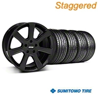 Staggered S197 Saleen Black Wheel & Sumitomo Tire Kit - 20x9/10 (05-14 All) - American Muscle Wheels 28363||28366||63024||63025||KIT