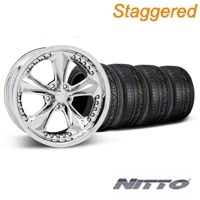 Foose Staggered Nitrous Chrome Wheel & NITTO Tire Kit - 18x9/10 (05-14 All) - Foose 32815||32829||76009||76010||KIT