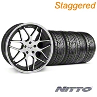 Niche Staggered Black Machined Mugello Wheel & NITTO Tire Kit - 20x8.5/10 (05-14 All) - Niche 32830||32831||76005||76006||KIT
