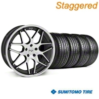 Niche Staggered Black Machined Mugello Wheel & Sumitomo Tire Kit - 20x8.5/10 (05-14 All) - Niche 32830||32831||63024||63025||KIT