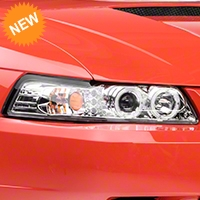 Chrome Projector Headlights - Dual LED Halo (99-04 All) - AM Lights 2LHP-MST99-TM