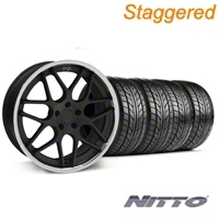 Staggered Matte Black Niche Mugello Wheel & NITTO Tire Kit - 20x8.5/10 (05-14 All) - Niche KIT||32832||32833||76005||76006