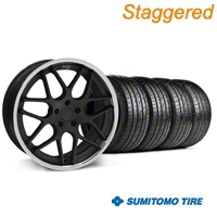 Niche Staggered Matte Black Mugello Wheel & Sumitomo Tire Kit - 20x8.5/10 (05-14 All) - Niche 32832||32833||63024||63025||KIT