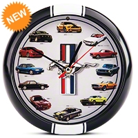 History of Mustang Clock 8 in. w/ Sound - Black - AM Accessories MST8
