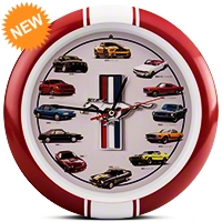 History of Mustang Clock 13 in. w/ Sound - Red - AM Accessories MST13R