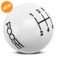 MMD Retro Style 5-Speed Shift Knob w/FOOSE logo - White (05-10 All) - MMD 384344