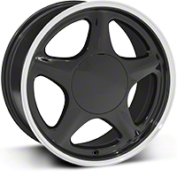 Black w/ Machined Lip Pony Style Wheel - 17x8 (87-93; Excludes 93 Cobra) - American Muscle Wheels 384580