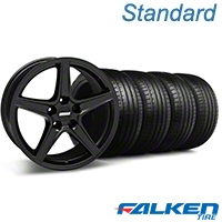 Saleen Matte Black Wheel & Falken Tire Kit - 18x9 (94-98 All) - American Muscle Wheels KIT||28306||79560||mb1