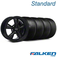 Deep Dish Bullitt All Matte Black Wheel & Falken Tire Kit - 18x9 (99-04 All) - American Muscle Wheels KIT||mb1||79561||28486