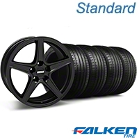 Saleen Matte Black Wheel & Falken Tire Kit - 18x9 (99-04 All) - American Muscle Wheels KIT||79561||28306||mb1