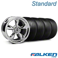 Bullitt Motorsport Chrome Wheel & Falken Tire Kit - 18x9 (05-14 GT, V6) - American Muscle Wheels mb1