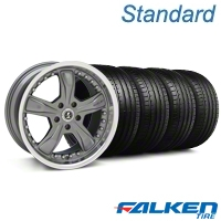 Shelby Razor Gunmetal Wheel & Falken Tire Kit - 18x9 (05-14 GT, V6) - American Muscle Wheels mb1||79569||27221||KIT