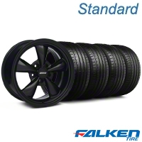 Bullitt All Matte Black Wheel & Falken Tire Kit - 18x9 (05-14 GT, V6) - American Muscle Wheels 28486