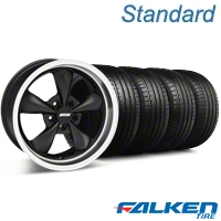 Bullitt Deep Dish Matte Black Wheel & Falken Tire Kit - 18x9 (05-14 GT, V6) - American Muscle Wheels 79569