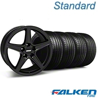 Saleen Matte Black Wheel & Falken Tire Kit - 18x9 (05-14 GT, V6) - American Muscle Wheels KIT||28306||79569||mb1