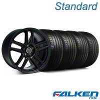 Laguna Seca Style Black Wheel & Falken Tire Kit - 19x9 (05-13 All) - American Muscle Wheels KIT||79571||99222||mb1