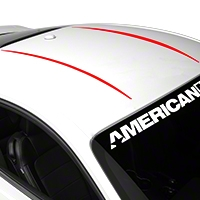 Roof Accent Stripes - Red (2015 All) - American Muscle Graphics 386386