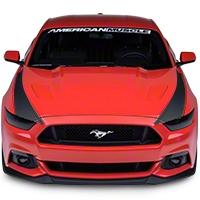 Outer Hood Stripes - Matte Black (2015 All) - American Muscle Graphics 386506