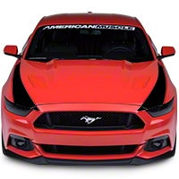 Outer Hood Stripes - Black (2015 All) - American Muscle Graphics 386507