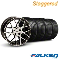Staggered TSW Nurburingring Gunmetal Wheel & Falken Tire Kit - 18x8/9 (05-14) - American Muscle Wheels KIT||79569||27351||mb1||79570||27353