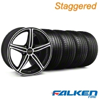 Staggered Foose Speed Black Machined Wheel & Falken Tire Kit - 18x8/9.5 (05-14 All, Excluding GT500) - American Muscle Wheels KIT||32807||79570||mb1||79569||32808