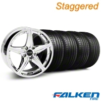 Staggered Foose Speed Chrome Wheel & Falken Tire Kit - 18x8/9.5 (05-14 All, Excluding GT500) - American Muscle Wheels KIT||79569||32809||mb1||79570||32810