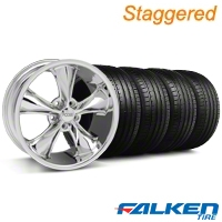 Foose Staggered Legend Chrome Wheel & Falken Tire Kit - 18x8.5/9.5 (05-10 GT, V6) - Foose KIT||32825||79569||mb1||32824||79570
