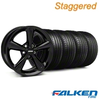 Staggered 2010 OE Black Wheel & Falken Tire Kit - 18x8/10 (05-14 GT, V6) - American Muscle Wheels KIT||28253||28256||79569||79570
