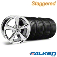 Staggered 2010 OE Chrome Wheel & Falken Tire Kit - 18x8/10 (05-14 GT, V6) - American Muscle Wheels KIT||28254||28257||79569||79570