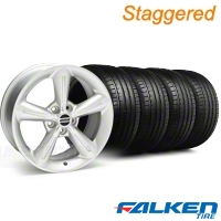 Staggered 2010 OE Silver Wheel & Falken Tire Kit - 18x8/10 (05-14 GT, V6) - American Muscle Wheels KIT||28255||28258||79569||79570