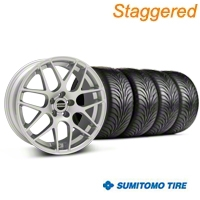 Staggered AMR Silver Wheel & Sumitomo Tire Kit - 18x9/10 (05-14 All, Excludes 13-14 GT500) - American Muscle Wheels 38675||63008||63009||38676||KIT