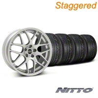 Staggered AMR Silver Wheel & NITTO INVO Tire Kit - 18x9/10 (05-14 All, Excludes 13-14 GT500) - American Muscle Wheels KIT||79523||38675||79522||38676