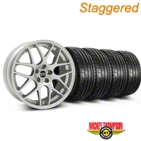Staggered AMR Silver Wheel & Mickey Thompson Tire Kit - 18x9/10 (05-14 All, Excludes 13-14 GT500) - American Muscle Wheels KIT||79537||38676||79538||38675