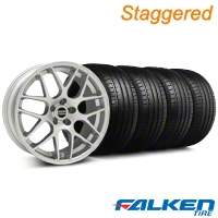 Staggered AMR Silver Wheel & Falken Tire Kit - 18x9/10 (05-14 All, Excludes 13-14 GT500) - American Muscle Wheels KIT||79570||38675||38676||79569