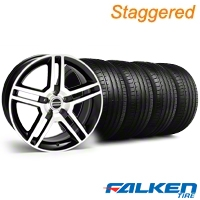 Staggered 2010 GT500 Black Machined Wheel & Falken Tire Kit - 18x9/10 (05-14) - American Muscle Wheels KIT||28221||28227||79569||79570