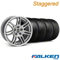 Staggered 10th Anniversary Cobra Anthracite Wheel & Falken Tire Kit - 18x9/10 (05-14) - American Muscle Wheels KIT||28347||28353||79569||79570