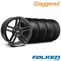 Staggered 2010 GT500 Matte Black Wheel & Falken Tire Kit - 18x9/10 (05-14) - American Muscle Wheels KIT||99268||99269||79569||79570