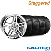 Staggered 2010 GT500 Chrome Wheel & Falken Tire Kit - 18x9/10 (05-14) - American Muscle Wheels KIT||28220||28226||79569||79570