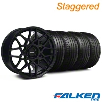 Staggered 2013 GT500 Gloss Black Wheel & Falken Tire Kit - 18x9/10 (05-14 All) - American Muscle Wheels KIT||99367||99369||79569||79570