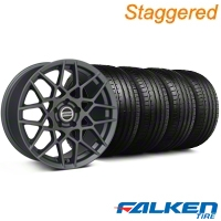 Staggered 2013 GT500 Charcoal Wheel & Falken Tire Kit - 18x9/10 (05-14 All) - American Muscle Wheels KIT||99368||99370||79569||79570