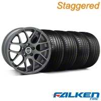 Staggered AMR Charcoal Wheel & Falken Tire Kit - 18x9/10 (05-14) - American Muscle Wheels KIT||28330||28333||79569||79570