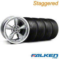 Staggered Bullitt Motorsport Anthracite Wheel & Falken Tire Kit - 18x9/10 (05-14 GT,V6) - American Muscle Wheels KIT||79570||10118||10120||mb1||79569